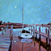 Moonlight On The Bay Print by David Lloyd Glover