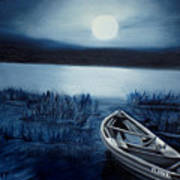 Moonlight On The River Art Print