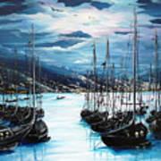 Moonlight Over Port Of Spain Art Print