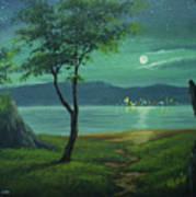 Moonlight Over The Sea Art Print
