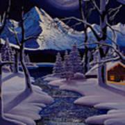 Moonlit Cabin Art Print