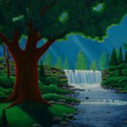 Moonlit Falls Art Print