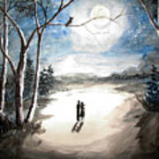 Moonlit Night Sweet Memory Art Print