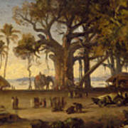 Moonlit Scene Of Indian Figures And Elephants Among Banyan Trees Art Print