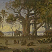 Moonlit Scene Of Indian Figures And Elephants Among Banyan Trees. Upper India Art Print