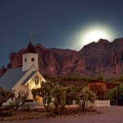 Moonrise At Superstition Mountain Art Print