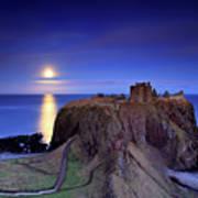 Moonrise Dunnottar Castle Aberdeenshire Scotland Print by Angus Clyne