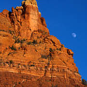 Moonrise Over Red Rock Print by Mike  Dawson