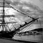 Moored At Hobart Bw Art Print