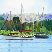 Moored Ketch Art Print
