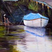 Moored Rowing Boat Art Print