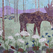 Moose And Three Sparrows Art Print