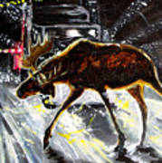 Moose Crossing Art Print by Jenn Cunningham
