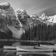 Moraine Lake In Black And White Art Print