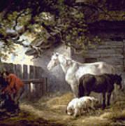 Morland: Farmyard, 1792 Art Print