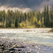 Morning Fog At Athabasca River Art Print