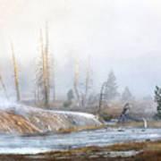 Morning Fog At Black Sand Basin Art Print