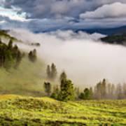 Morning Fog Over Yellowstone Art Print