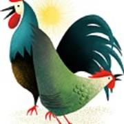 Morning Glory Rooster And Hen Wake Up Call Art Print