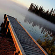 Morning Mist Over Lynx Lake In Northern Saskatchewan Art Print