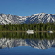 Morning Reflection Boats On Colter Bay Art Print