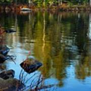 Morning Reflections On Chad Lake Print by Larry Ricker