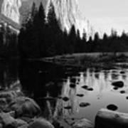 Morning Sunlight On El Cap - Black And White Art Print