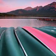 Morning View Of Pyramid Lake In Jasper National Park Art Print