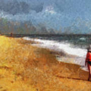 Morning Walk Along The Beach Art Print