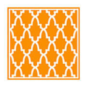 Moroccan Arch With Border In Tangerine Art Print