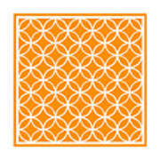 Moroccan Endless Circles I With Border In Tangerine Art Print