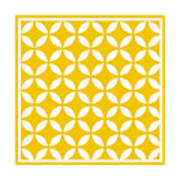 Moroccan Endless Circles II With Border In Mustard Art Print