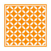 Moroccan Endless Circles II With Border In Tangerine Art Print