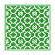 Moroccan Floral Inspired With Border In Dublin Green Art Print