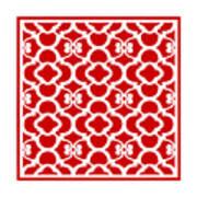 Moroccan Floral Inspired With Border In Red Art Print