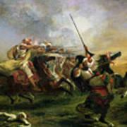 Moroccan Horsemen In Military Action Art Print by Ferdinand Victor Eugene Delacroix
