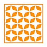 Moroccan Inlay With Border In Tangerine Art Print