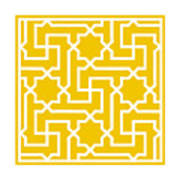 Moroccan Key With Border In Mustard Art Print