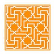 Moroccan Key With Border In Tangerine Art Print