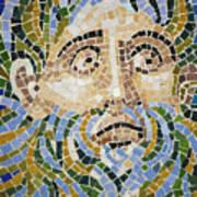 Mosaic Face Fountain Detail Art Print