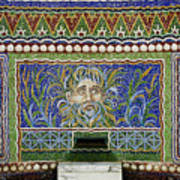 Mosaic Fountain At Getty Villa 3 Art Print