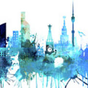 Moscow, Russia, Watercolor In Blue Art Print
