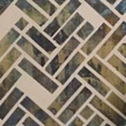 Mosque Herringbone Blue Art Print by Salwa  Najm