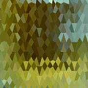 Moss Green Abstract Low Polygon Background Art Print