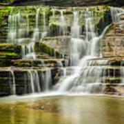 Mossy Flowing Waterfalls In Enfield Glen Art Print