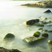 Mossy Rocks On Shoreline Art Print
