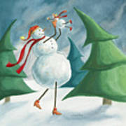 Mother And Baby Snowmen Art Print