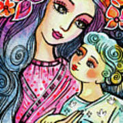 Mother And Child In Blue Art Print