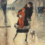 Mother And Child On A Street Crossing Art Print