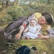 Mother And Child With A Poppy Art Print